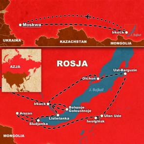Mapa wyprawy Syberia, Bajkał, Kolej Transsyberyjska z Om Tramping Klub.