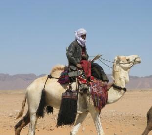Tuareg na wielbladzie na Saharze w Algierii_wyprawa z om tramping klub