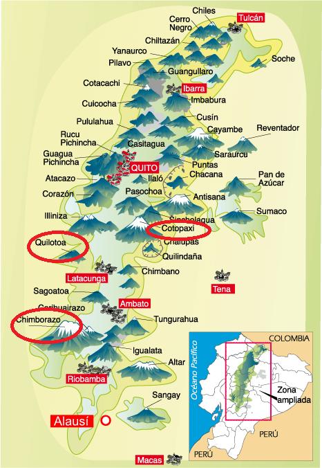 Mapa trekkingow i miejsc, ktore odwiedzamy w Ekwadorze_Om Tramping Klub