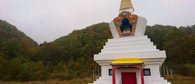 Biała stupa buddyjska ze złotym szczytem na tle lasu w Darnkowie